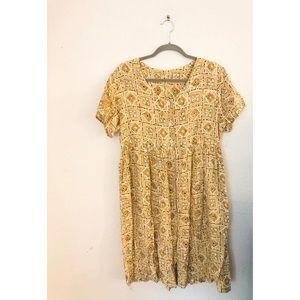 Vintage Gold Tan Geometric Button Down Mini Dress